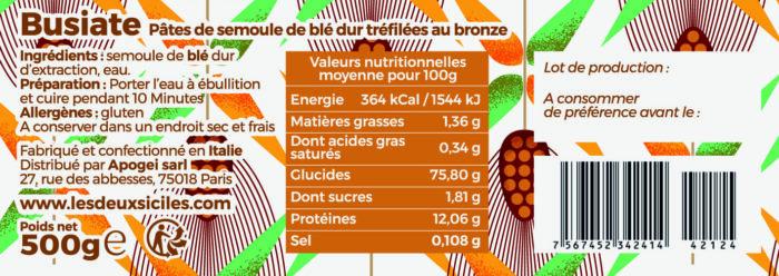 ingrédients pâtes