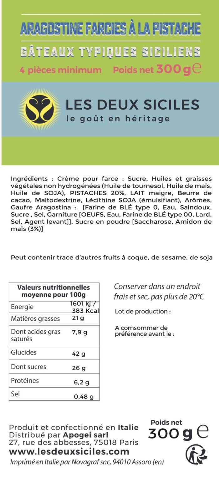 ingrédients aragostine pistache