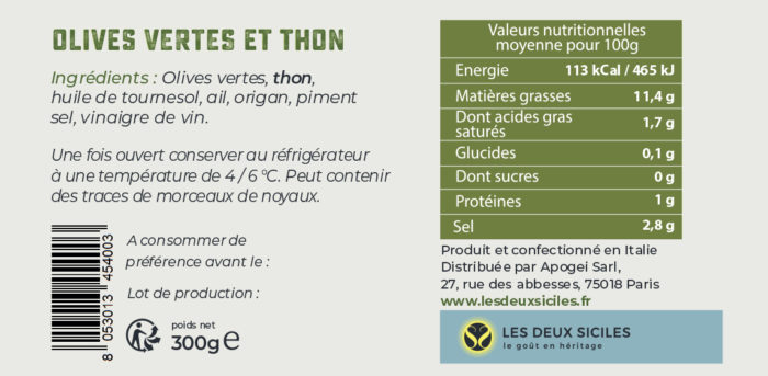 Etiquette d'Olives au thon