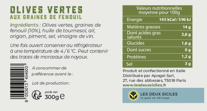 étiquette olives vertes au fenouil