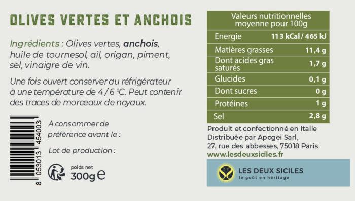 étiquette olives vertes aux anchois