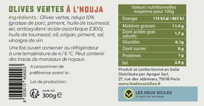 étiquette olives vertes 'nduja