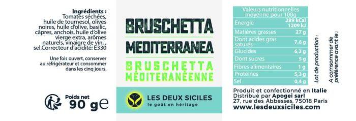 Bruschetta mediterranea ingrédients
